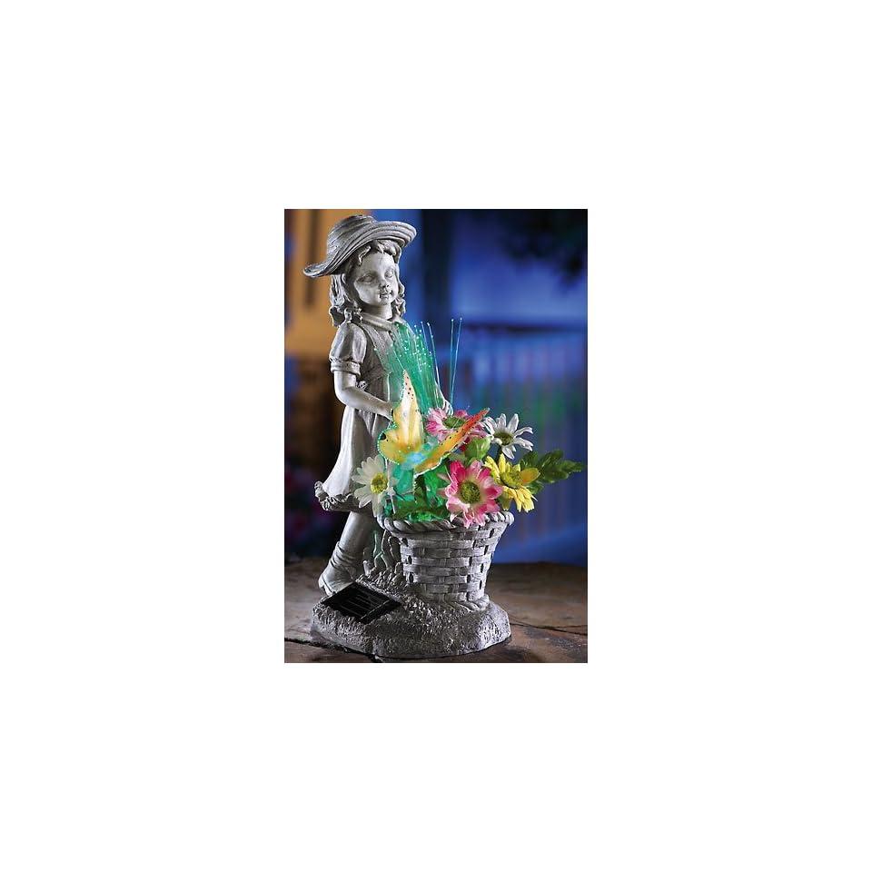 Little Girl & Flower Basket Fiber Optic Statue