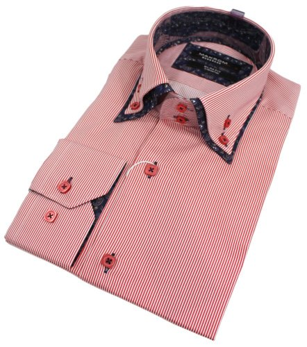 Mens Stripe Double Collar Red Italian Shirt Slim Fit Smart or Casual 100% Cotton