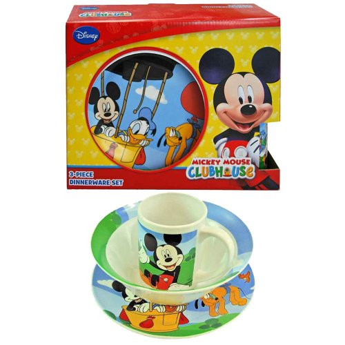 Disney Mickey Mouse Clubhouse Children'S Porcelain 3 Piece Dinnerware Set - Plate, Bowl, Mug