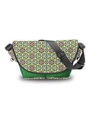 Atrangee Star Array Messenger Bag (Green, Black)