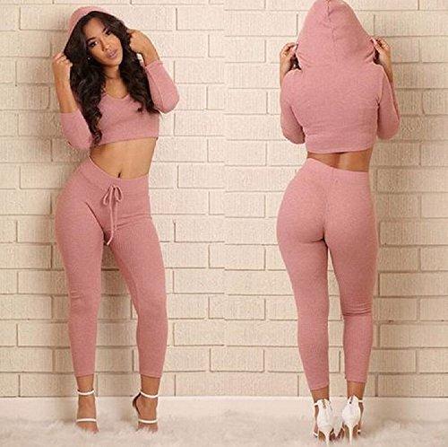 XJoel pantaloni sportivi per le donne Hood sudore + Tuta adatta abiti casual color block manica corta casuale T Set Sports tute Rosa XL