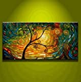 Art Hand Painted Modern Abstract Oil Painting on Canvas Wall Art Deco Home Decoration Tree of Life Stretched Ready to Hang