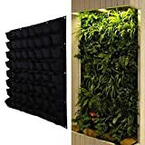 Whitelotous 64 Pockets Vertical Garden Plant Grow Container Bags, Living Wall Hanging Planter, Eco-friendly Green Field Pot for Herbs Strawberries Flowers