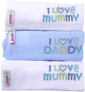 Minene - Gasas para bebés, diseño I Love Mummy/ I Love Daddy, color blanco con motivos azules (3 unidades) marca Minene