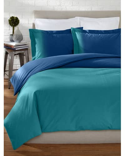 OYO Bedding Dip-Dye Percale Duvet Set  [Teal/Blue]