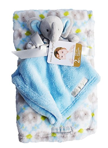 Blankets & Beyond Grey Elephant w/ Big Blue Ears 2 Piece Blanket Gift Set Baby Blanket & Security Blanket
