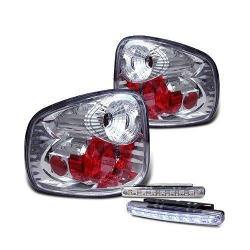 Rxmotoring 97-03 Ford F150 Tail Lights Flareside + 8 Led Fog Bumper Lamp