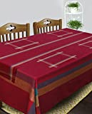 Dhrohar Cotton Maroon Table Linen Set for 6 Seater Table - Table Cloth, Table Runner and Mats - Set of 8