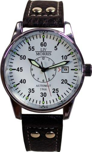 LIV MORRIS Automatik Herrenuhr 1966 Cologne, mechanische Armbanduhr, SeaGull Uhrwerk, automatischer Aufzug, Edelstahl-Glasboden, lumineszierende Zeiger und Indices, Lederarmband, von LIV MORRIS