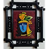 Laps Of Luxury - Krishna God Idol Wall Hanging Glass Photo Frame In Black Colour Metal Like Border Finish (16x14...