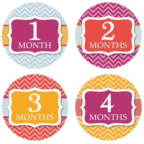 Monthly Onesie Stickers - Modern Chevron Theme - Baby Girl Bodysuit Stickers