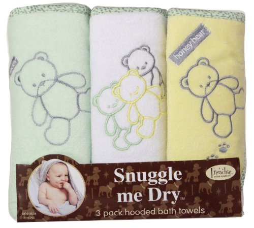 Teddy Bear Hooded Bath Towel Set, 3 Pack, Neutral, Frenchie Mini Couture - 1
