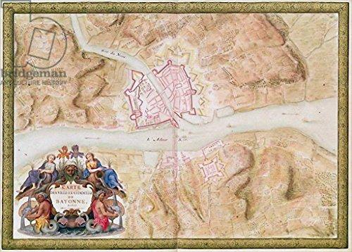 Reproduction-Poster-Sebastien-Le-Prestre-de-Vauban-Ms-988-tome-3-fol45-Plan-and-map-of-the-town-and-citadel-of-Bayonne-from-the-Atlas-Louis-XIV-1683-88-Affiche-Reproduction-artistique-de-haute-qualit-