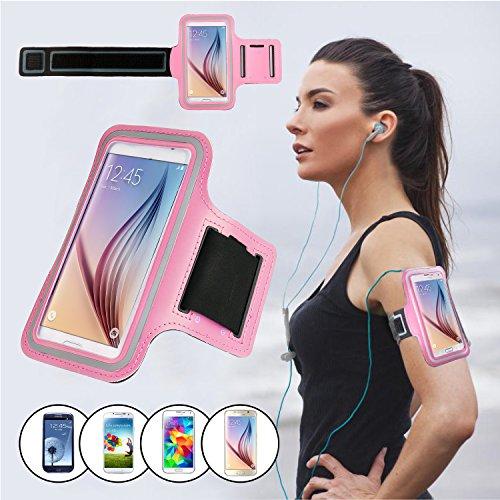 SAVFY® Rose Brassard Armband Sport pour Samsung Galaxy S6 / S6 edge (2015) pour le Jogging / Gym / Sport - confortable avec sangle réglable