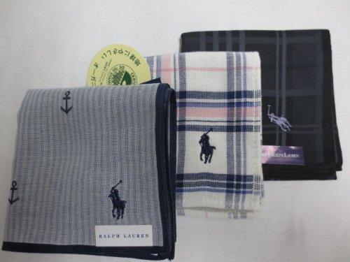 [ラルフローレン] Ralph Lauren 紳士 メンズ ハンカチ 3枚セット ポロ刺繍入り 黒チェック 白 チェック マリン ストライプ