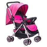 Homehalo ベビーカー 両対面 ベビーバギー 折りたたみ 軽量4輪機能 通気性良い 買い物かご付き 対象 新生児~36ヶ月 (ピンク)