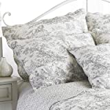 Paoletti Canterbury Tales Toile De Jouy Cushion Cover WhiteGrey 45 x 45 Cm