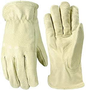 Wells Lamont 1133L Work Gloves with Grain Pigskin, Keystone Thumb, Leather Bound, Large