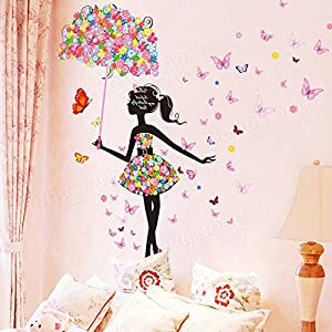 Bargain World Butterfly Flowers Girls Room Decoration DIY Wall Sticker Wallpaper Art Decal Home Mural from Bargain World Online