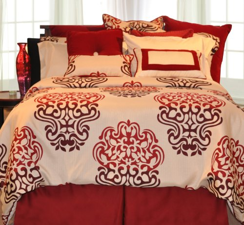 Pointehaven Printed 300 TC 3-Piece 100-Percent Combed Cotton Duvet Set, Cherry Blossom, Queen/Full