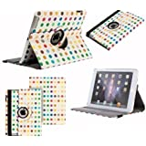 Neotechs® Multi-Coloured Spots Vintage Retro Leather Rotating 360° Stand Case Cover Wallet for Apple iPad 2 3 4