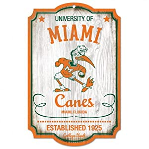 Buy NCAA College Vault Miami Hurricanes 11-by-17 Wood Sign by WinCraft