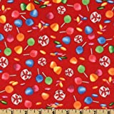44'' Wide Red Lollipops And Gumdrops Hasbro's Candyland Fabric By The Yard