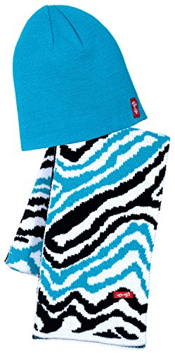 Big-Girls-Fine-Ribbed-Knit-Beanie-Tiger-Striped-Scarf-Set-Blue-Black