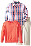 Nautica Little Boys 3 Piece Woven Sweater and Twill Pant Set