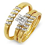 10k Yellow Gold Round Diamond Ladies & Mens His Hers Bridal Ring Engagement Trio Set Band 1/4 CT (0.25 cttw, H-I Color, I1 Clarity)
