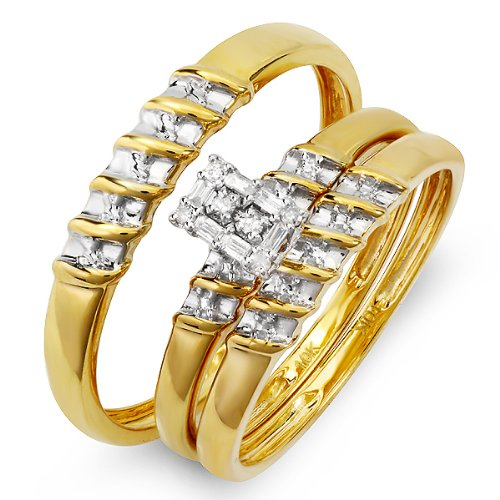 0.10 Carat (ctw) 10k Yellow Gold Round Diamond Ladies & Mens His Hers Bridal Ring Engagement Trio Set Band 1/10 CT