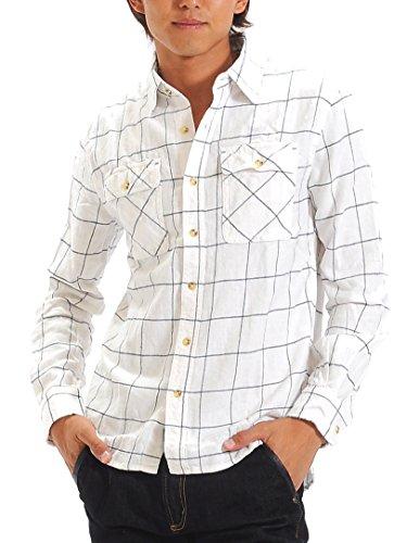 (スペイド) SPADE チェックシャツ メンズ シャツ 長袖 ウィンドーペン ネルシャツ 【w865】 (L, ウィンドーペンホワイト)