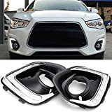 iJDMTOY Xenon White LED Daytime Running Lights For 13-15 Mitsubishi Outlander Sport, (2) OEM Fit DRL Bezel Assembly Each Powered by 9 Pieces High Power LED Lights