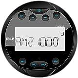 Pyle PLMR91UB Hydra Waterproof Bluetooth Marine Digital Receiver Stereo Radio USB/MP3/AM/FM/AUX Input, Round/Circle