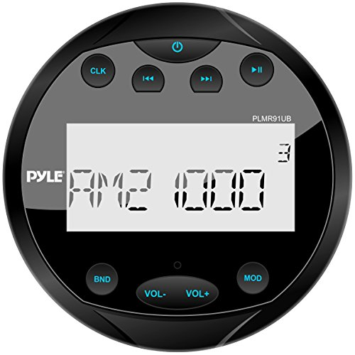 Pyle PLMR91UB Hydra Waterproof Bluetooth Marine Digital Receiver Stereo Radio USB/MP3/AM/FM/AUX Input, Round/Circle
