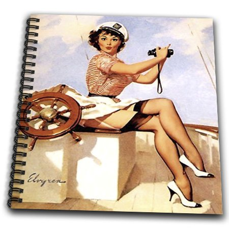 Db_179580_1 Florene - Retro Pinups - Image Of Famous Elvgren Pinup Painting Girl With Binoculars - Drawing Book - Drawing Book 8 X 8 Inch