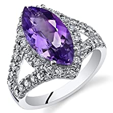 buy 2.25 Carats Marquise Cut Amethyst Ring Sterling Silver Size 8