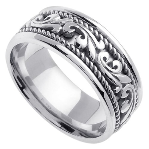 White Braided Wedding Ring For Women (9Mm) Size 7.5