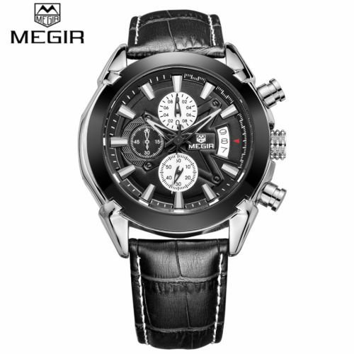 MEGIR 2020 Brand Military Sports Chronograph Watch with Leather Strap For Men