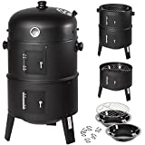 TecTake 3in1 BBQ GRILL BARBECUE GRILLE WAGON CHARBON DE BOIS FUMOIR SMOKER