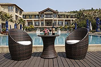 Salon de jardin balcon en resine tressée marron 2 fauteuil plus une table avec vitre