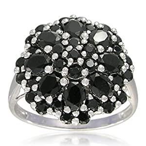 Sterling Silver 3x4mm Oval and Round 2mm Black Spinel Cluster Ring, Size 7