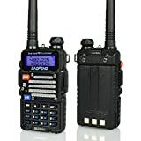 Baofeng BF-F9 V2+ 8-Watt Hi-Power (USA Warranty) Dual-Band 136-174/400-520 MHz Hand Held Ham Radio Two-Way Transceiver - With Battery, Earpiece, Antenna & Charger (Black)