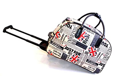 Union jack spaper Print Wheeled Trolley Bag Luggage/ Gym Bag/ Weekend Bag