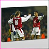 S261 Arsenal Legends Dennis Bergkamp, Thierry Henry, Freddie Ljungberg Group Celebration Framed Ready To Hang Canvas Print, Sport, Pop Street Wall Art, Picture