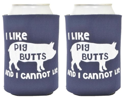 I Like Pig Butts 2 Pack Can Coolies Navy