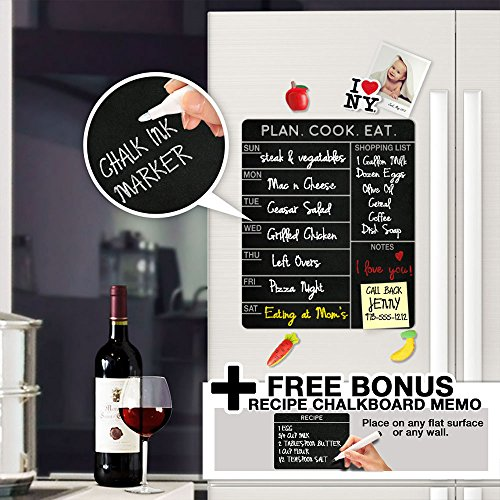 Modern Chalkboard Weekly Meal Planner - With Free Bonus Memo - Menu Schedule , Organizer , Refrigerator Decal Menu Board - A Todeco Product (Recipe Board compare prices)