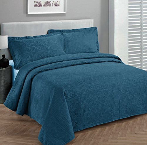 Find Bargain Fancy Collection 3pc Luxury Bedspread Coverlet Embossed Bed Cover Solid Blue New Over S...