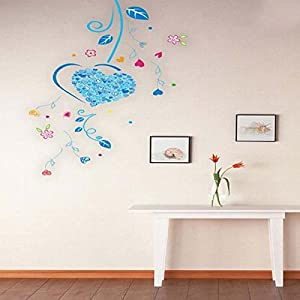 Great Value Wall Decor TV Setting Blue Love Heart Tree DIY Wall Stickers Wallpaper by Mzamzi