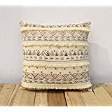 Cream Colour Pillow Cover Cushion Cover Embroidered Sequins Lace Moroccan Pillow Standard Size 16X16 Inches